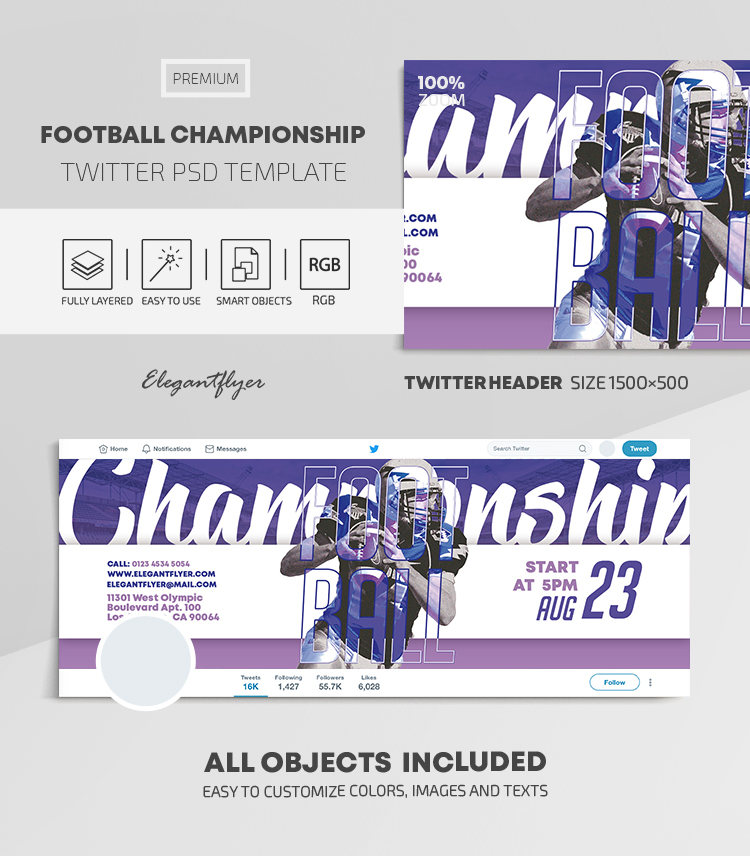 Football Championship – Twitter Header PSD Template