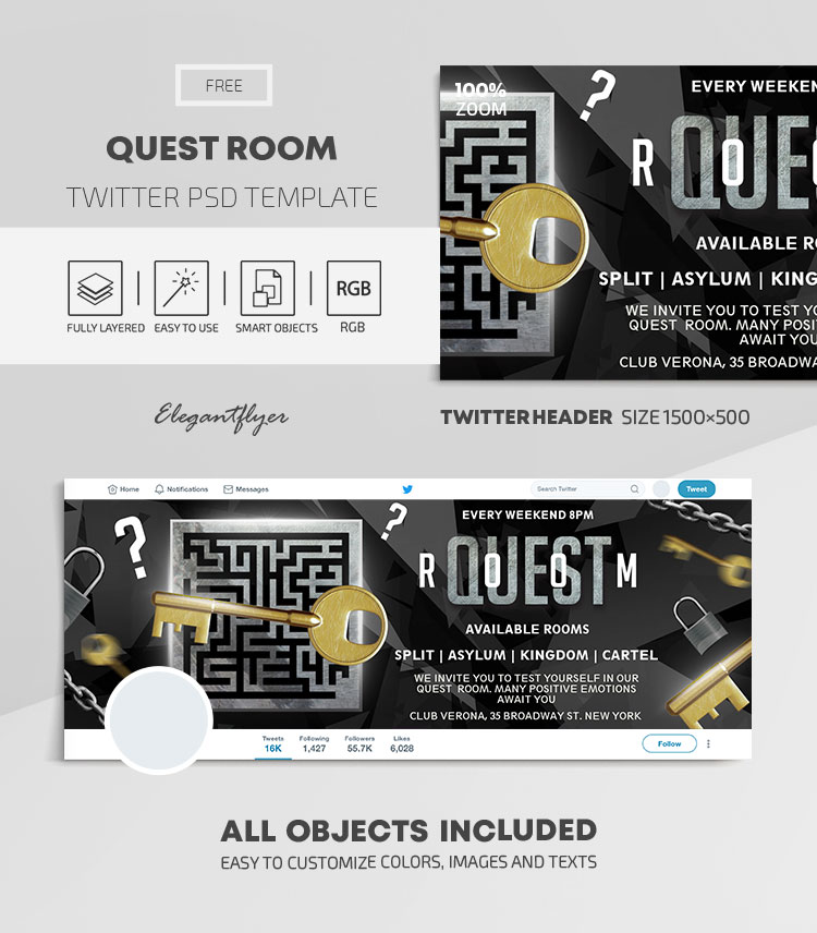 Quest Room – Free Twitter Header PSD Template
