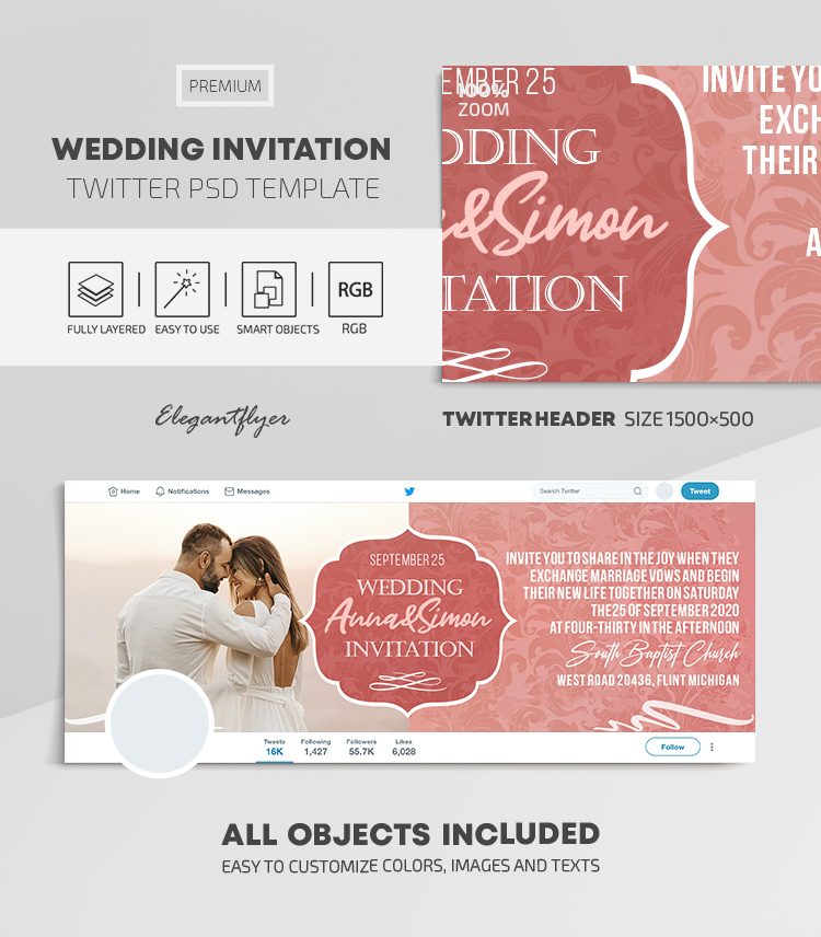 Wedding Invitation – Twitter Header PSD Template