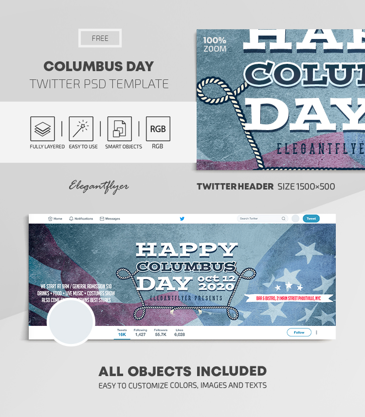 Columbus Day – Free Twitter Header PSD Template