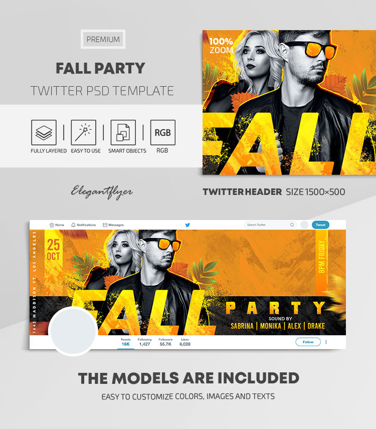 Fall Party – Twitter Header PSD Template
