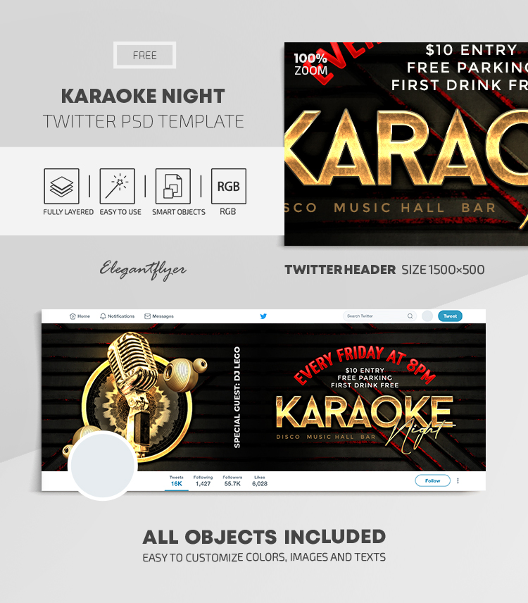 Karaoke Night – Free Twitter Header PSD Template