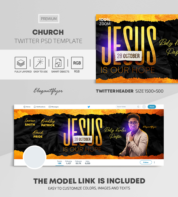 Church – Twitter Header PSD Template