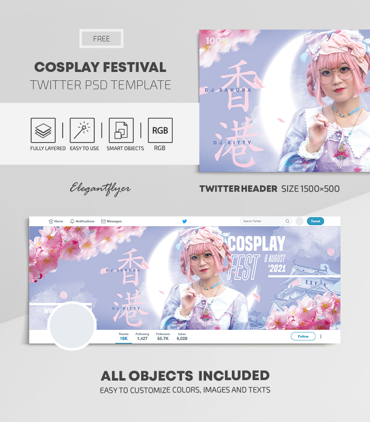 Cosplay Festival – Free Twitter Header PSD Template