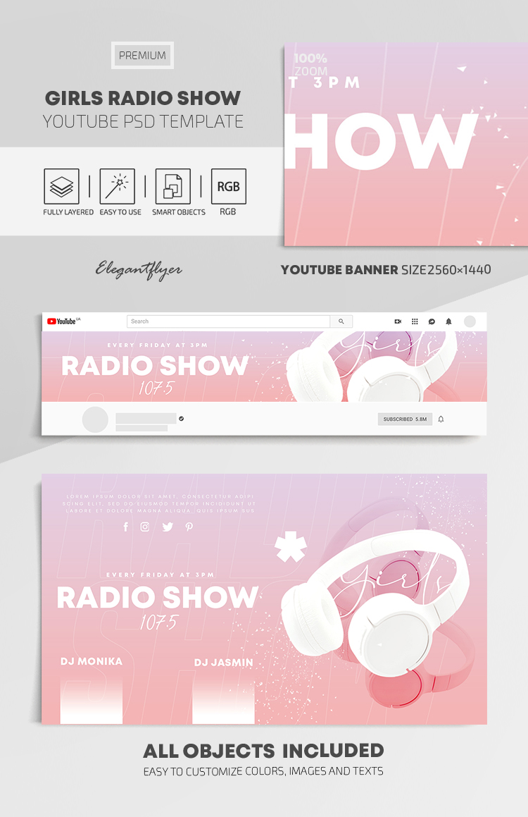 Girls Radio Show – Youtube Channel banner PSD Template
