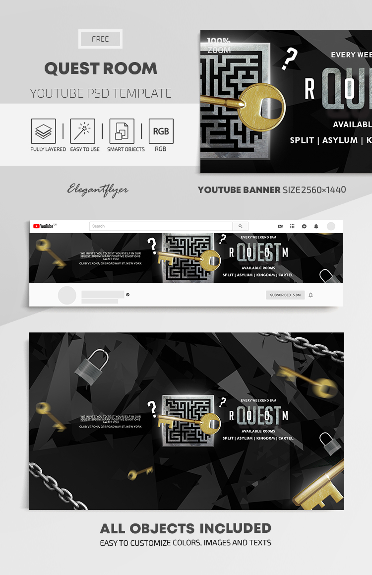 Quest Room – Free Youtube Channel banner PSD Template