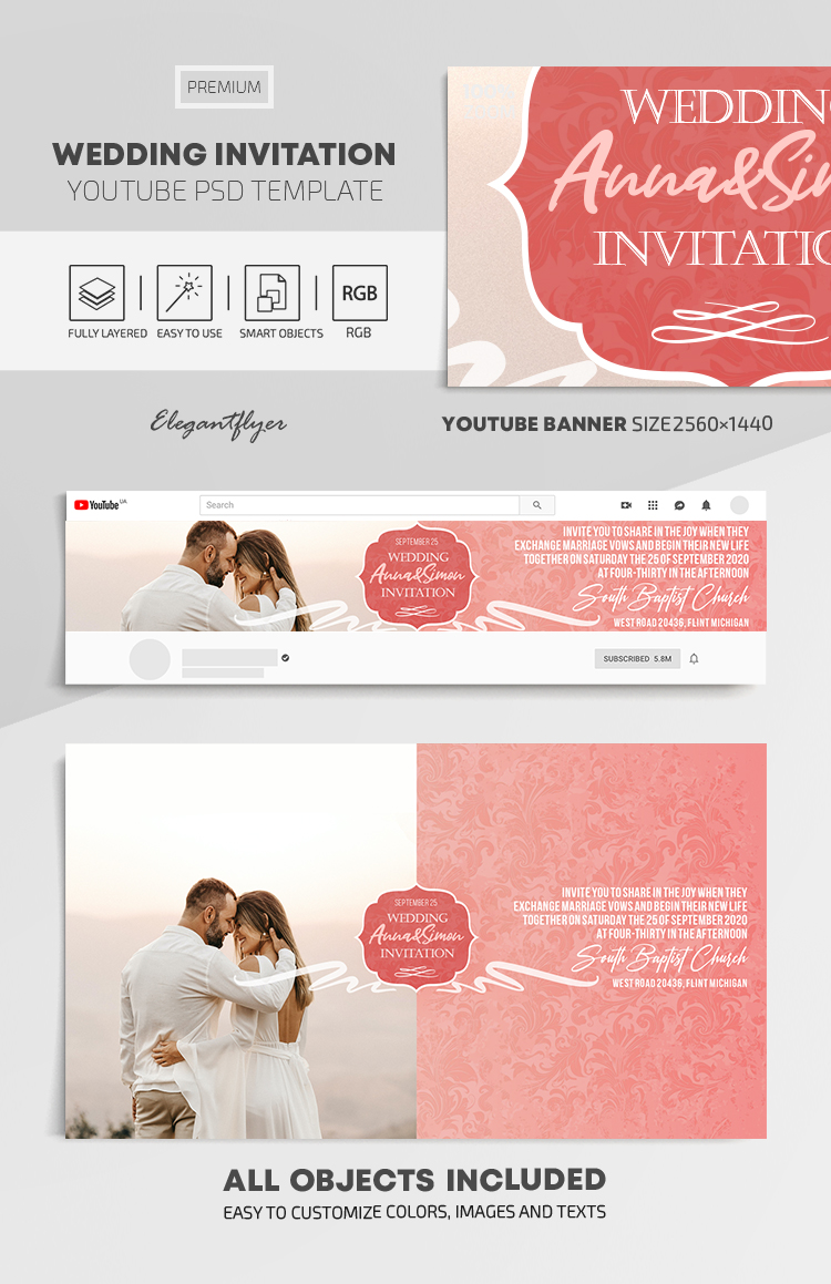 Wedding Invitation – Youtube Channel banner PSD Template