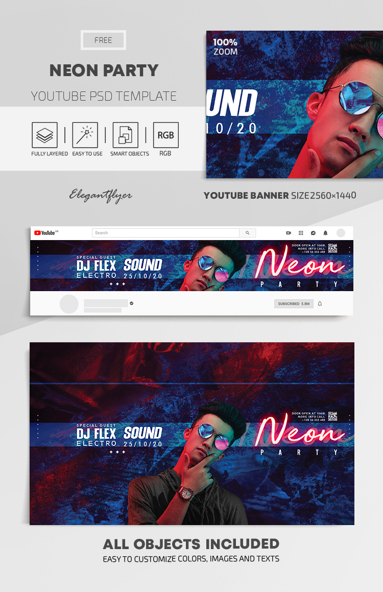 Neon Party – Free Youtube Channel banner PSD Template