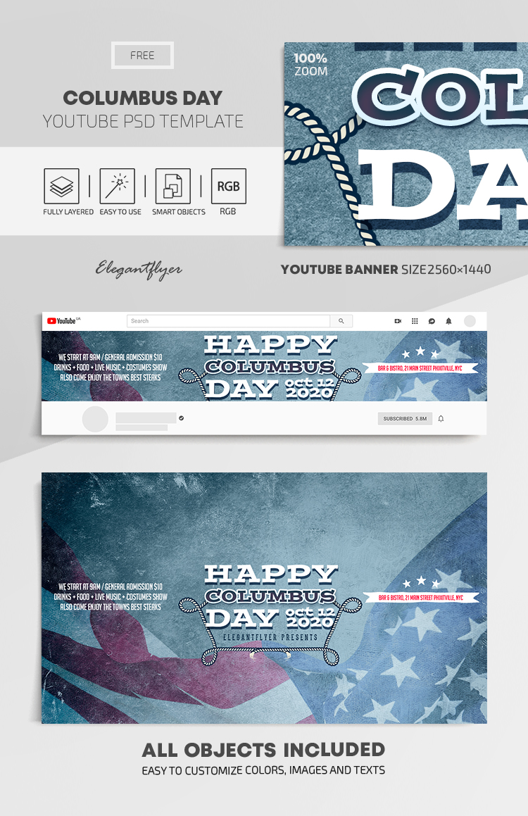 Columbus Day – Free Youtube Channel banner PSD Template