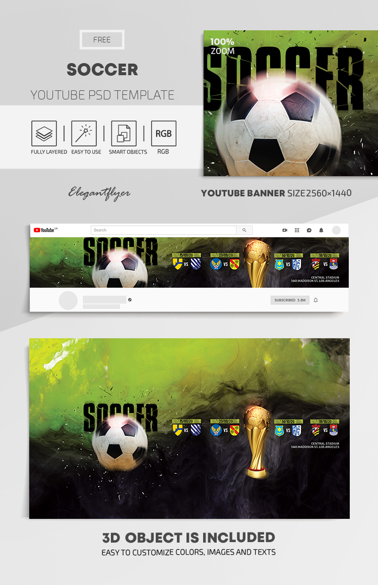 Soccer – Free Youtube Channel banner PSD Template