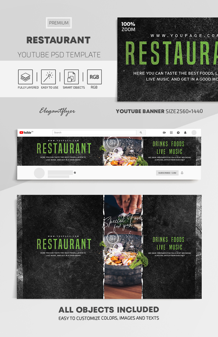 Restaurant – Youtube Channel banner PSD Template