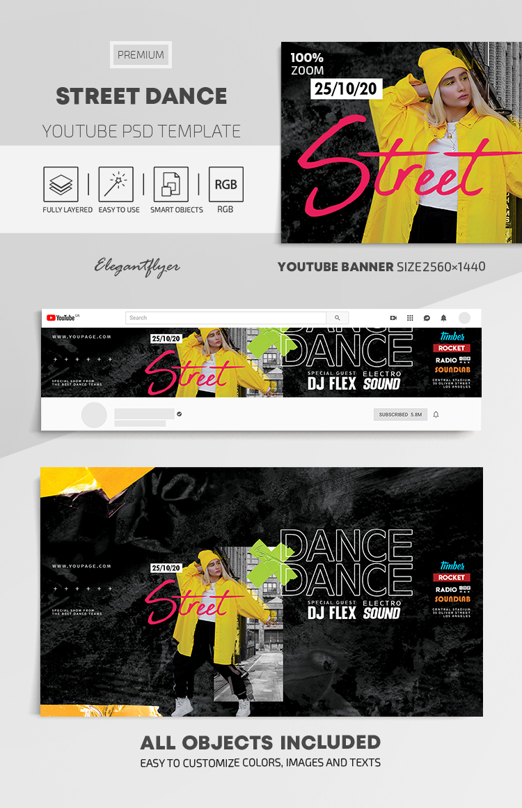 Street Dance – Youtube Channel banner PSD Template