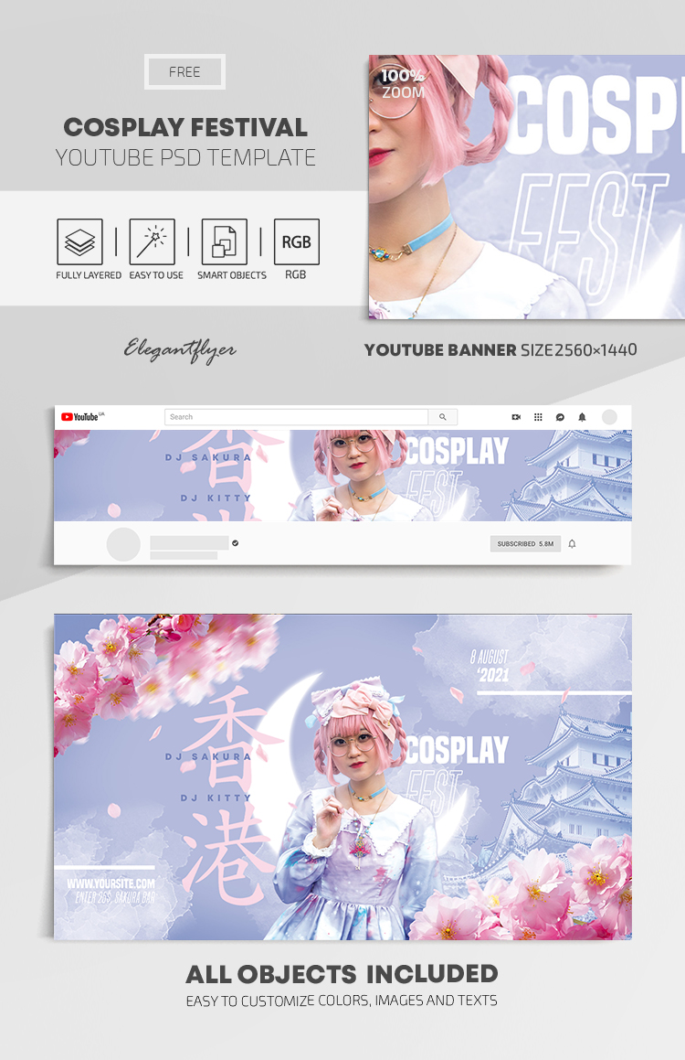 Cosplay Festival – Free Youtube Channel banner PSD Template