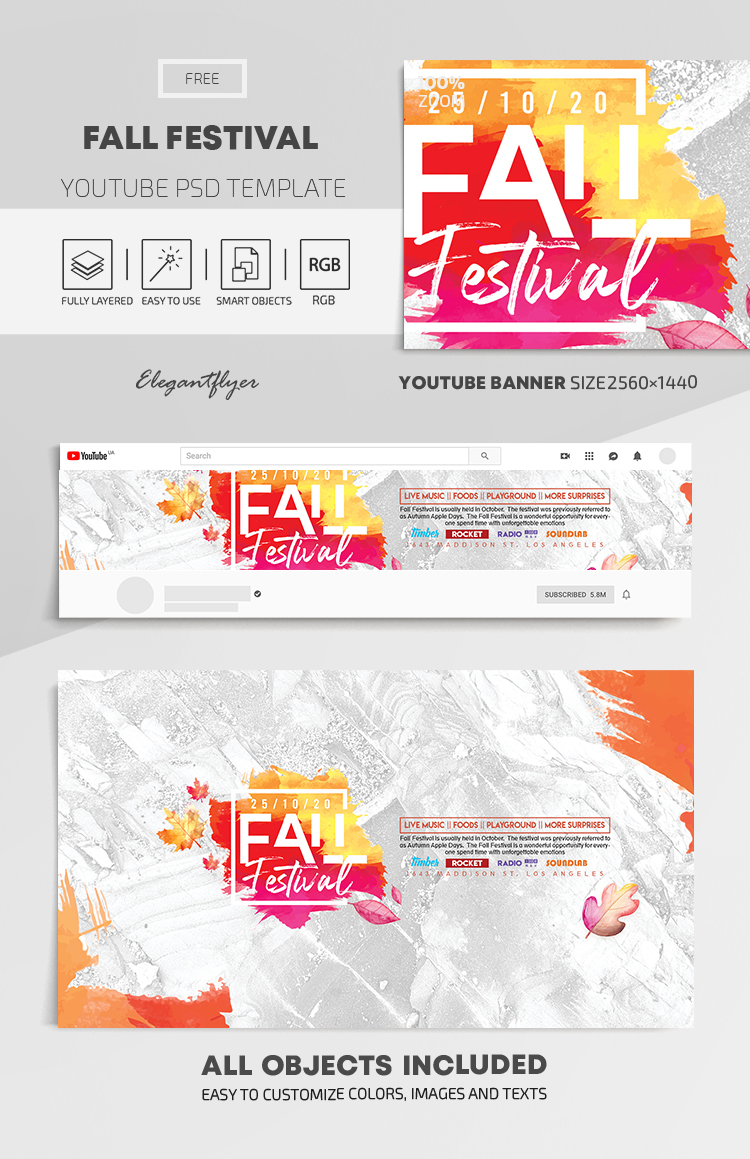 Fall Festival – Free Youtube Channel banner PSD Template