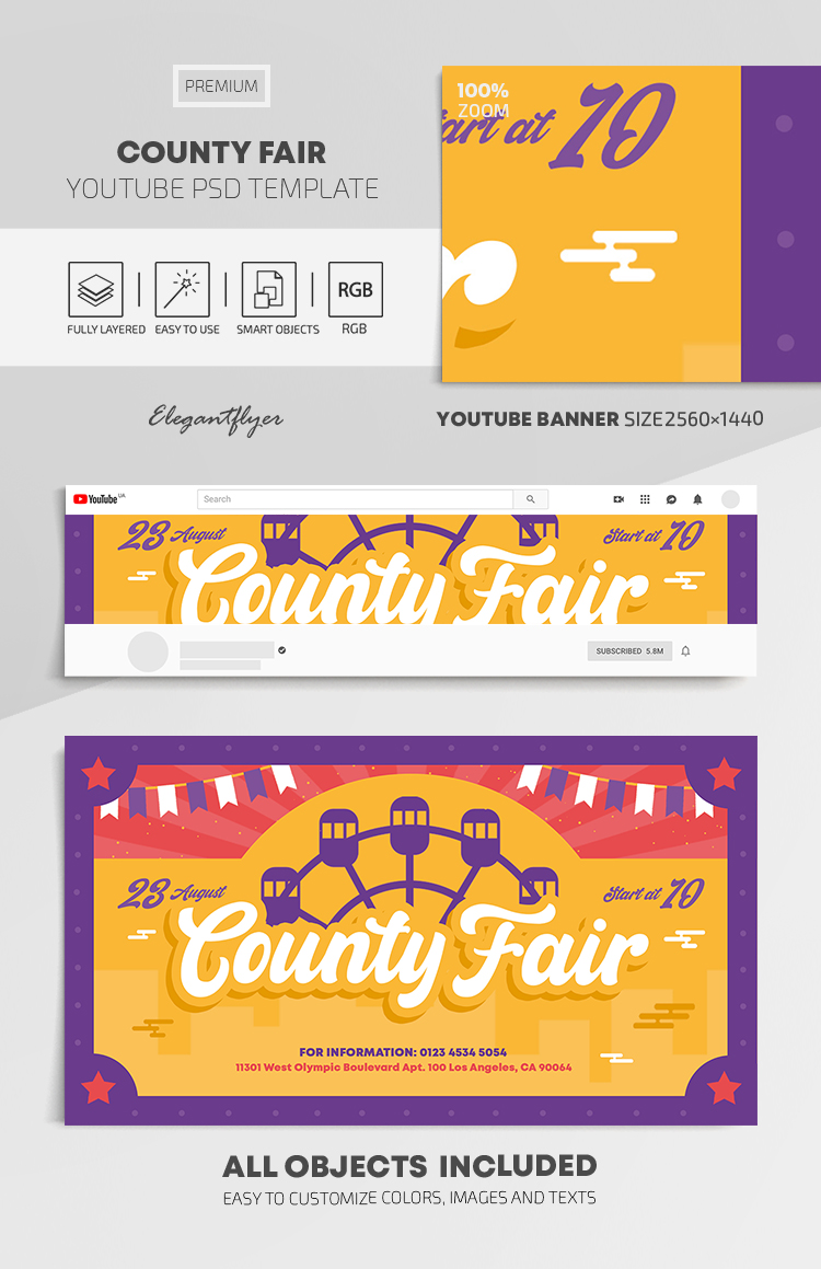 County Fair – Youtube Channel banner PSD Template