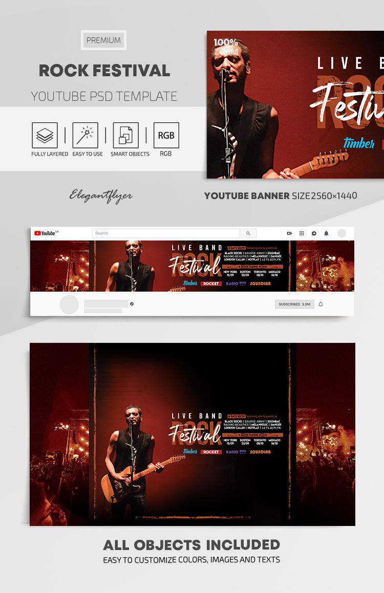 Rock Festival – Youtube Channel banner PSD Template