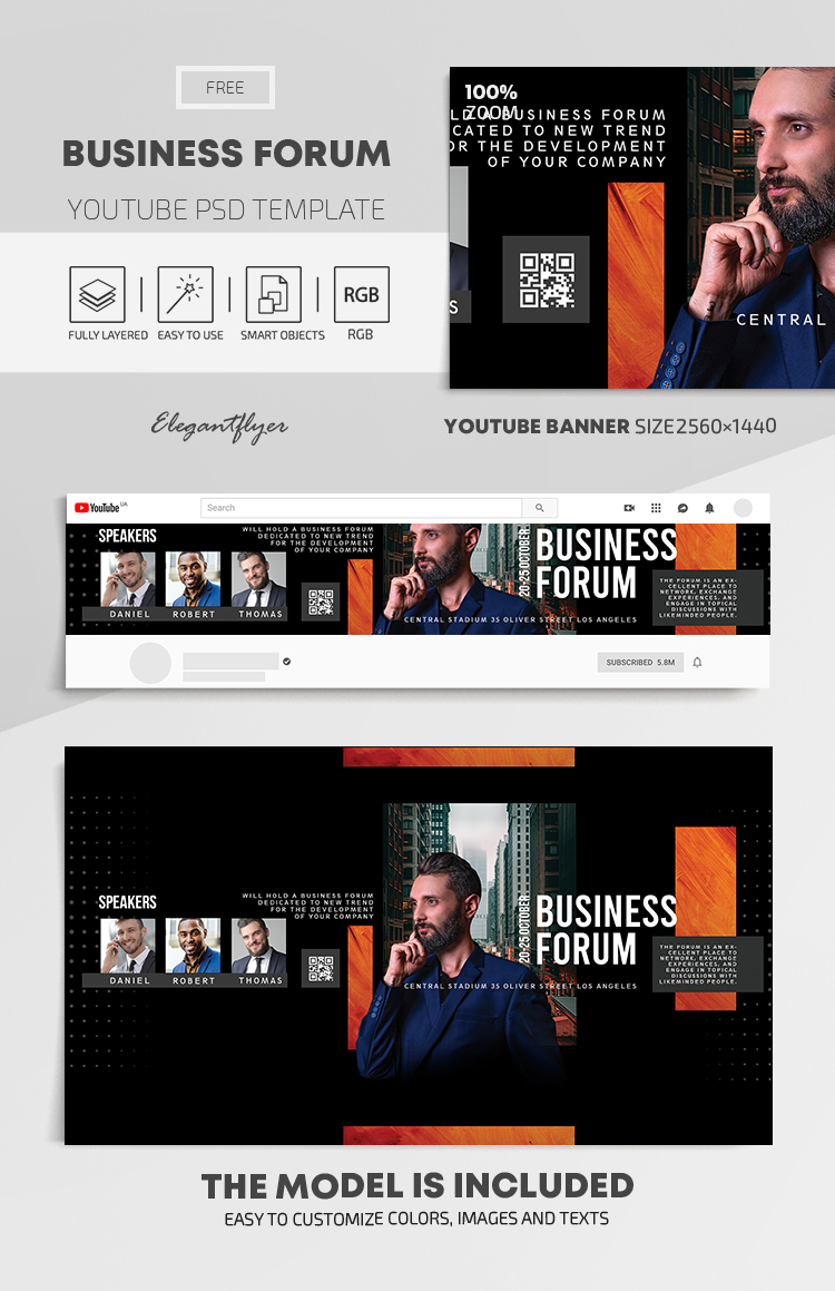 Business Forum – Free Youtube Channel banner PSD Template