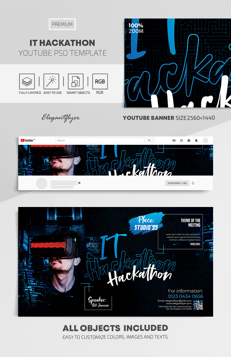 IT Hackathon – Youtube Channel banner PSD Template