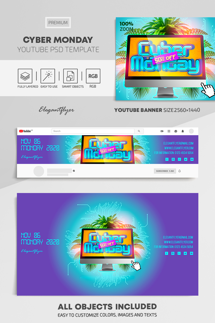 Cyber Monday – Youtube Channel banner PSD Template