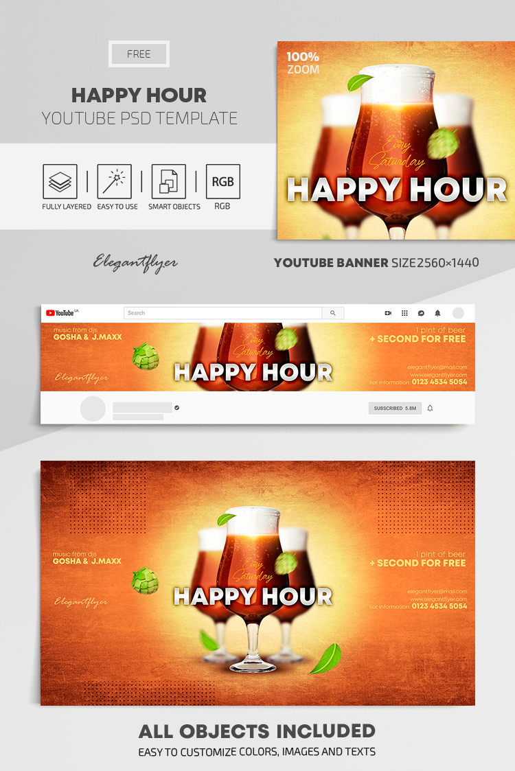 Happy Hour – Free Youtube Channel banner PSD Template