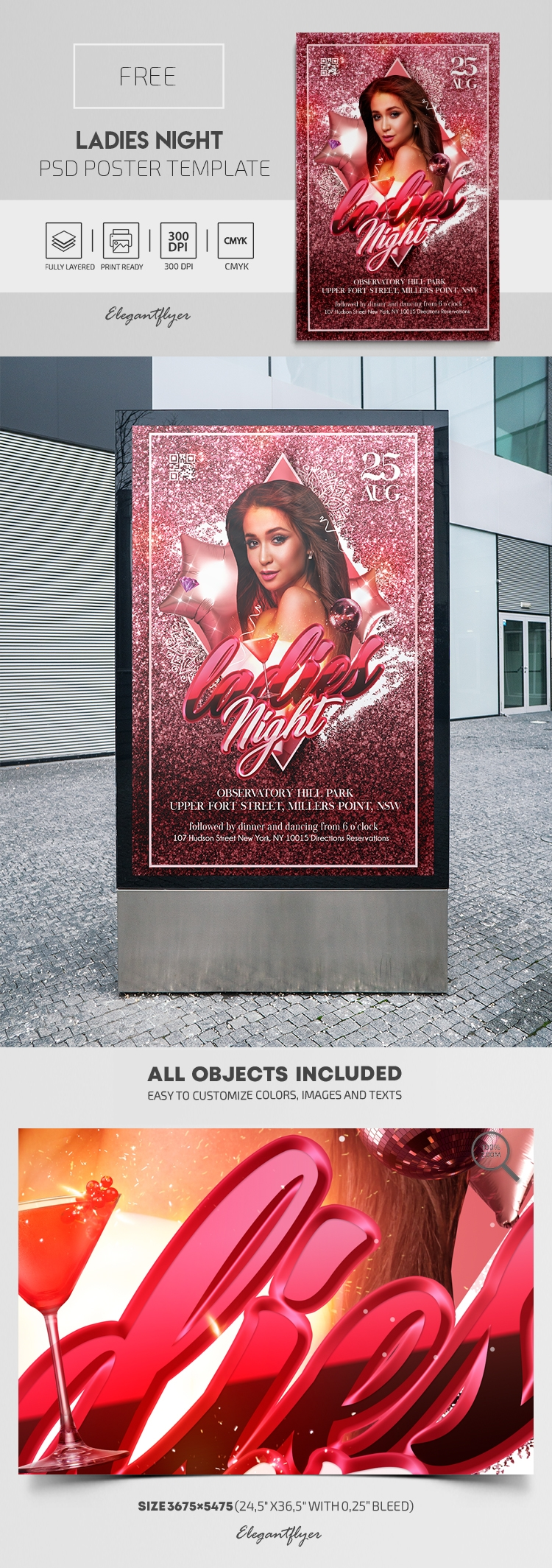 Ladies Night – Free PSD Poster Template
