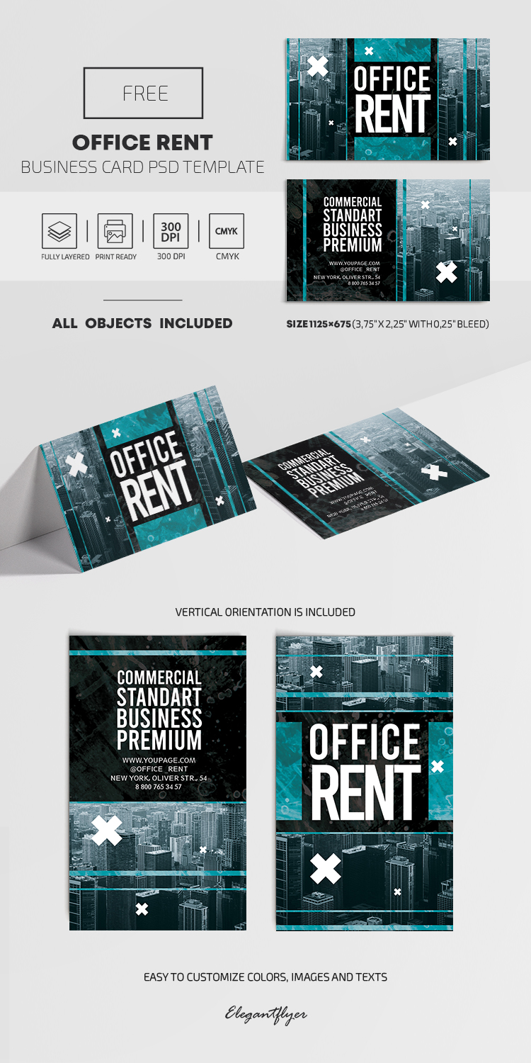 Office Rent – Free PSD Business Card Template