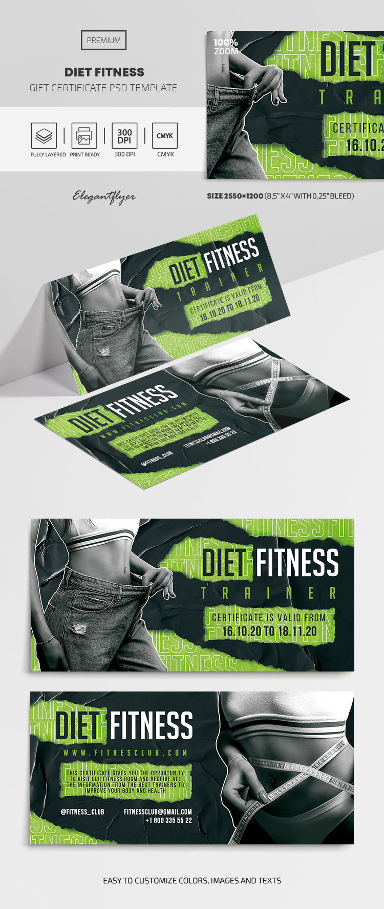 Diet Fitness – Premium Gift Certificate Template in PSD