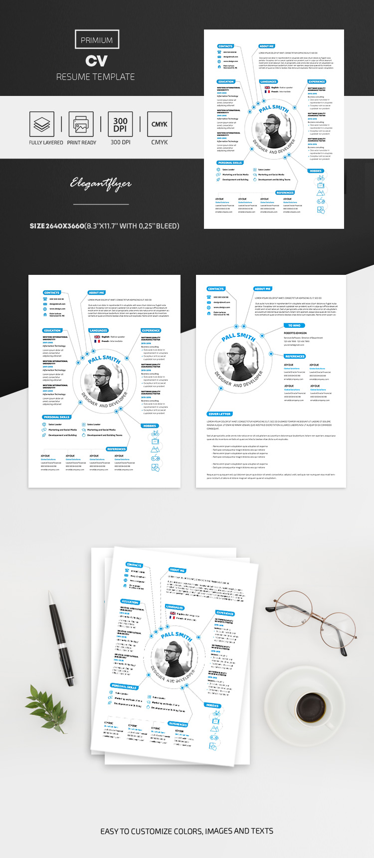 CV and Cover Letter – Resume PSD Template