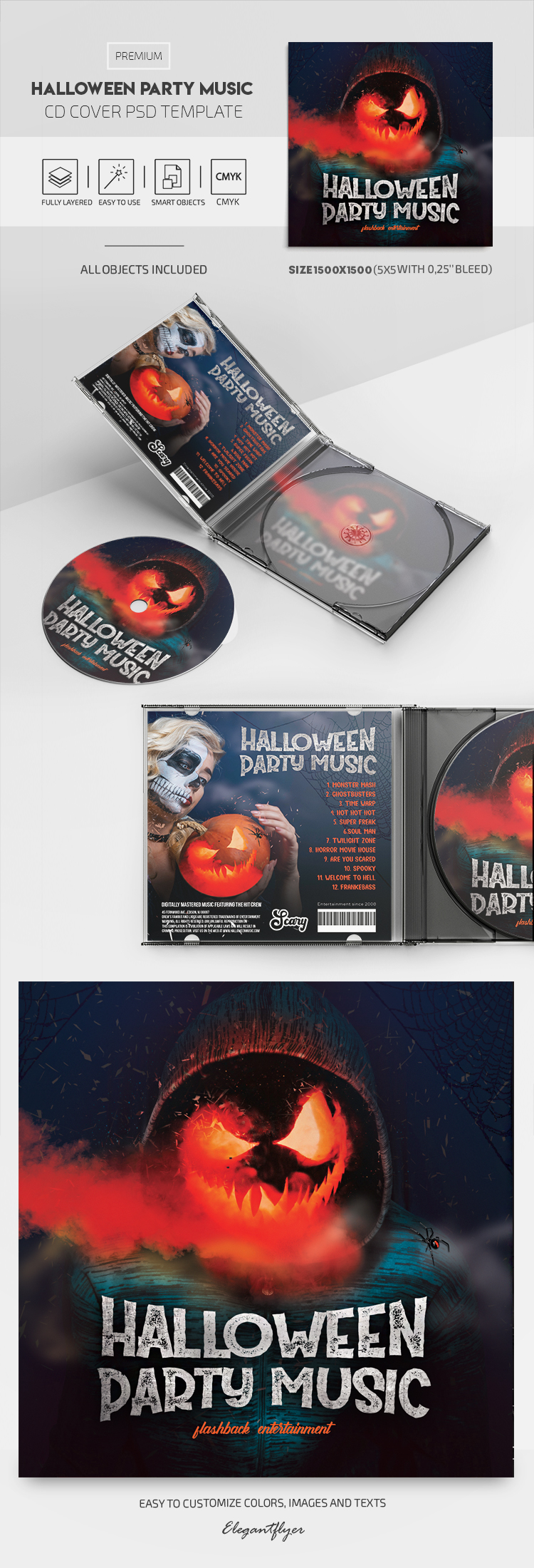 Halloween Party Music – Premium CD Cover PSD Template