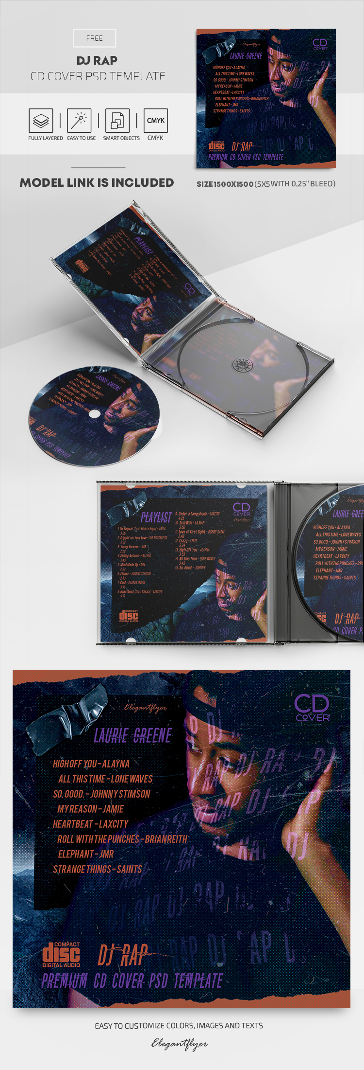 DJ Rap – Free CD Cover PSD Template