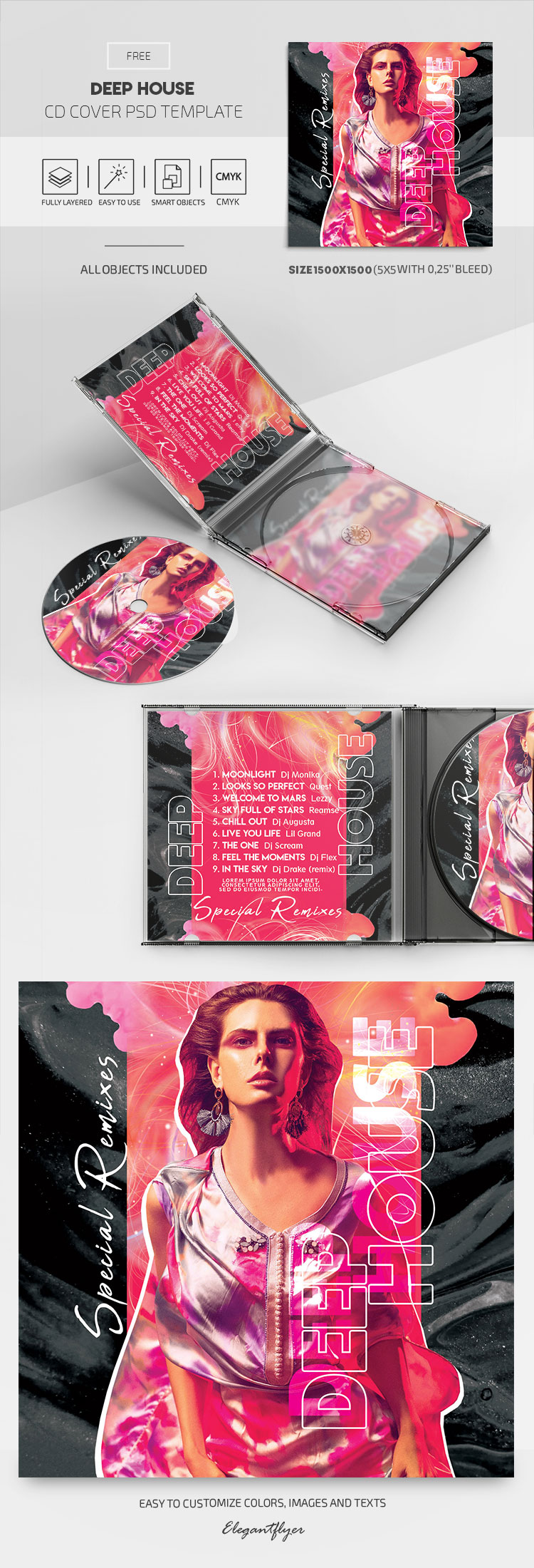 Deep House – Free CD Cover PSD Template