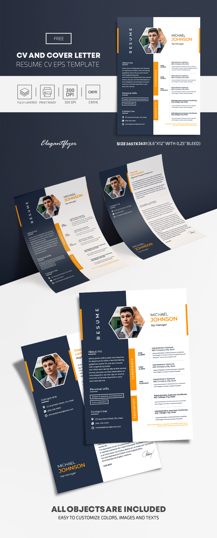 Free CV and Cover Letter EPS Template