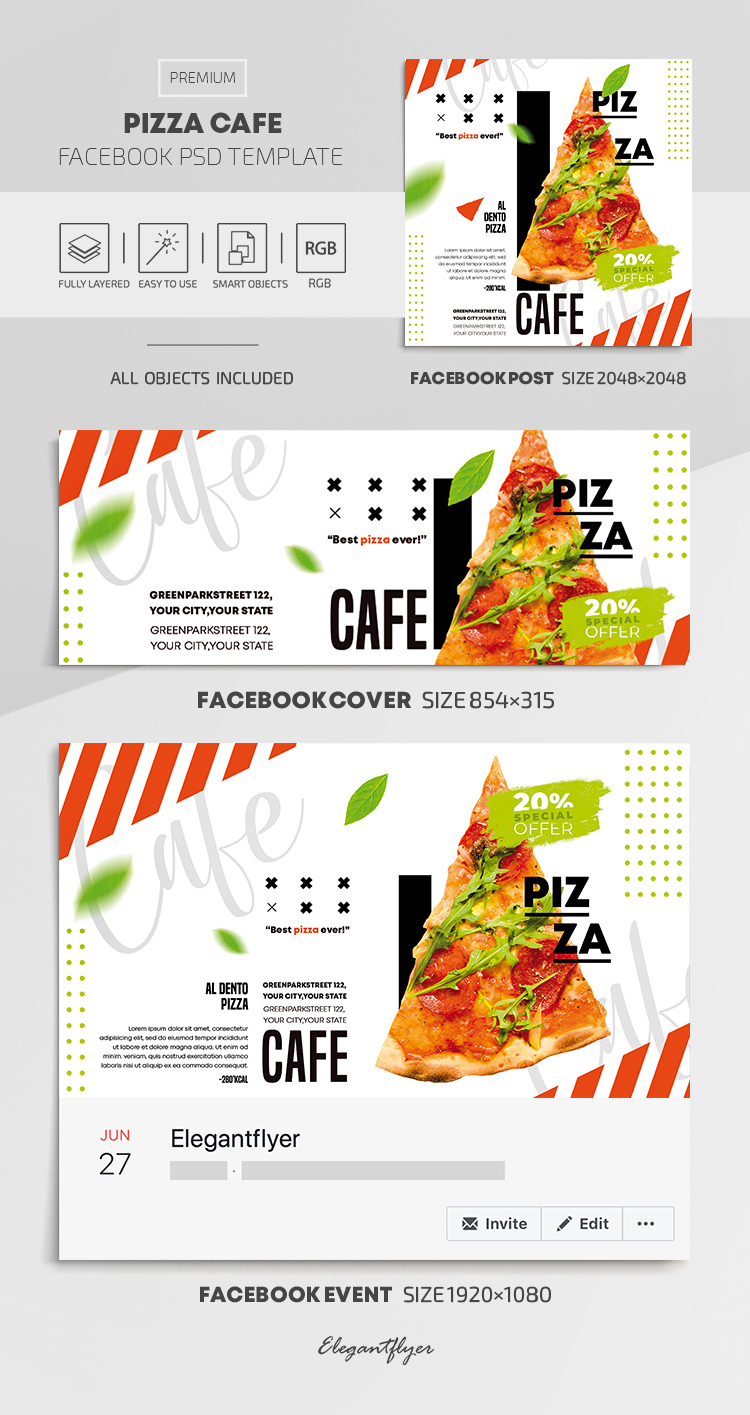 Pizza Cafe – Facebook Cover Template in PSD + Post + Event cover