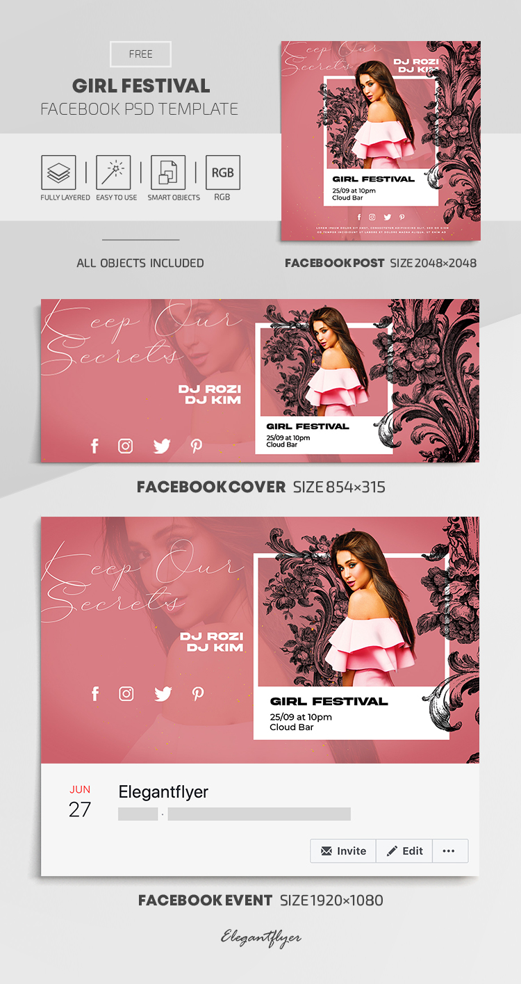 Girl Festival – Free Facebook Cover Template in PSD + Post + Event cover