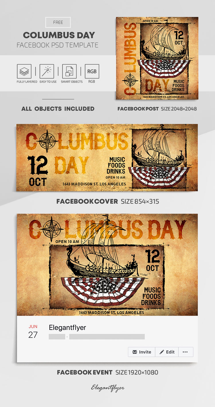 Columbus Day – Free Facebook Cover Template in PSD + Post + Event cover