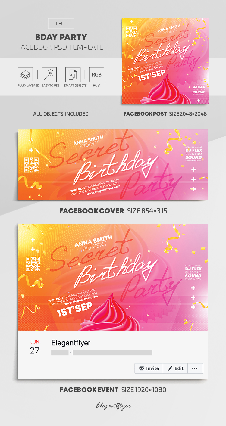 Birthday Party – Free Facebook Cover Template in PSD + Post + Event cover