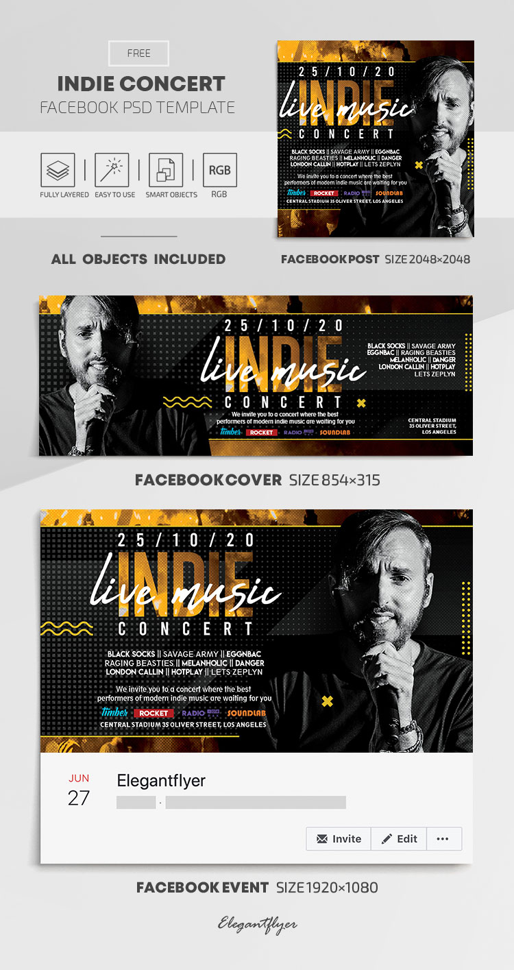 Indie Concert – Free Facebook Cover Template in PSD + Post + Event cover