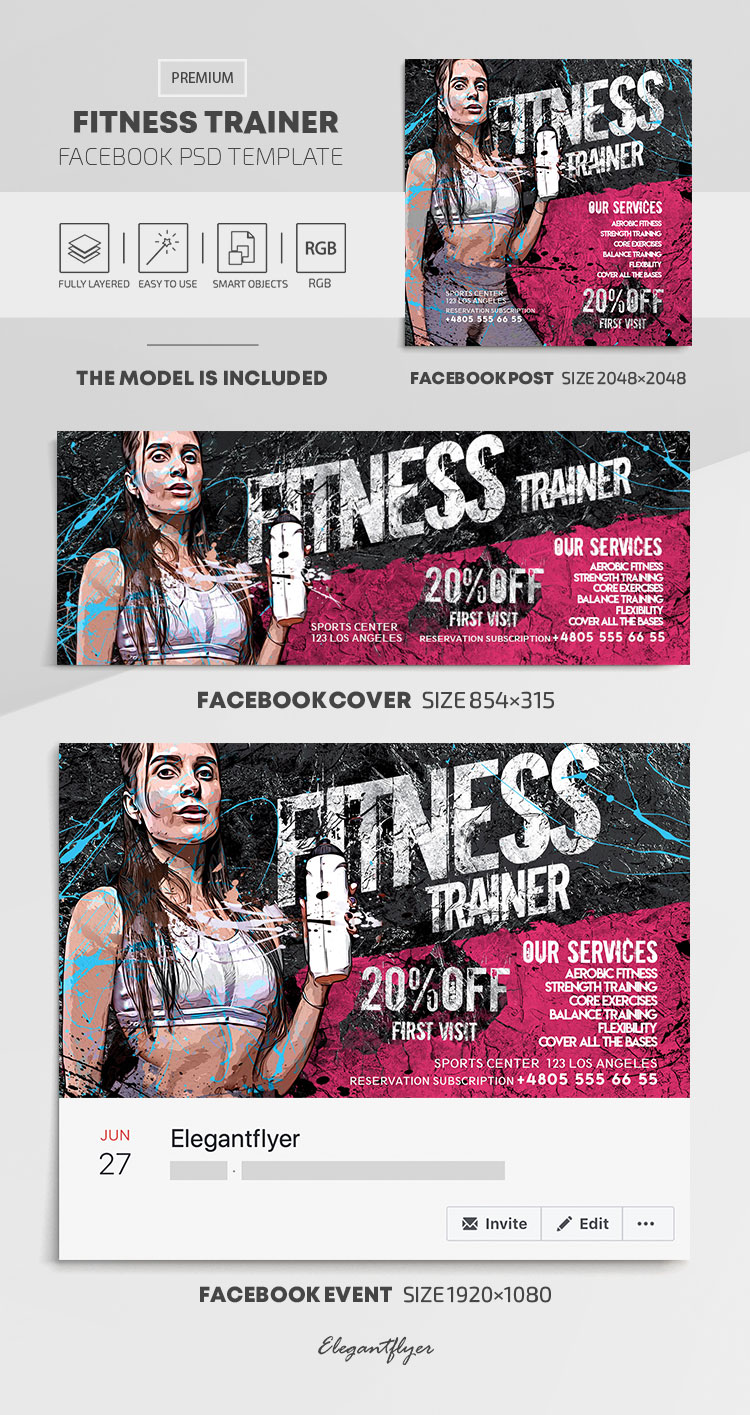 Fitness Trainer – Facebook Cover Template in PSD + Post + Event cover