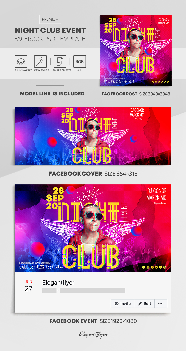 Night Club Event – Facebook Cover Template in PSD + Post + Event cover