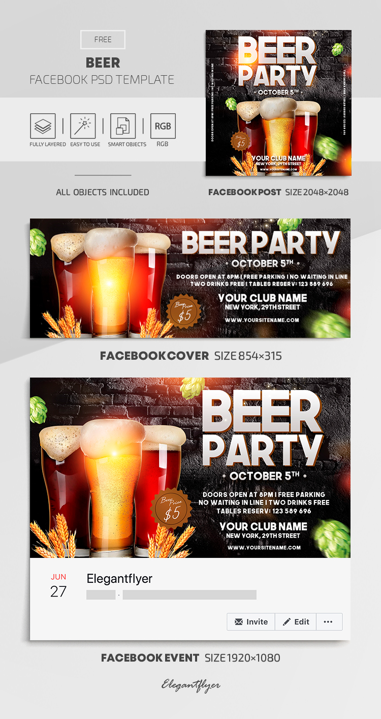 Beer – Free Facebook Cover Template in PSD + Post + Event cover