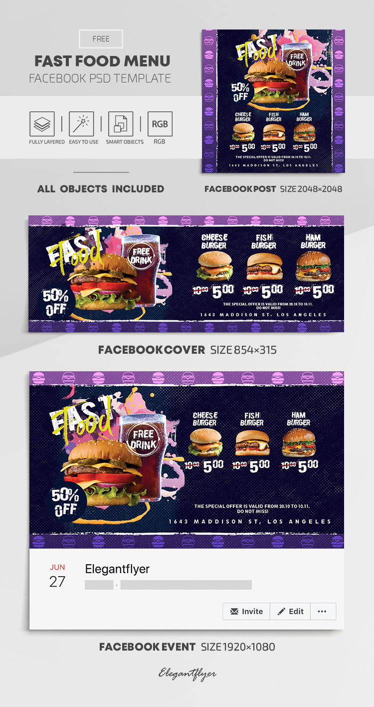 Fast Food Menu – Free Facebook Cover Template in PSD + Post + Event cover