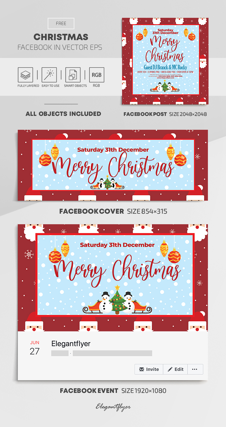 Christmas – Free Facebook Cover Template in EPS + Post + Event cover