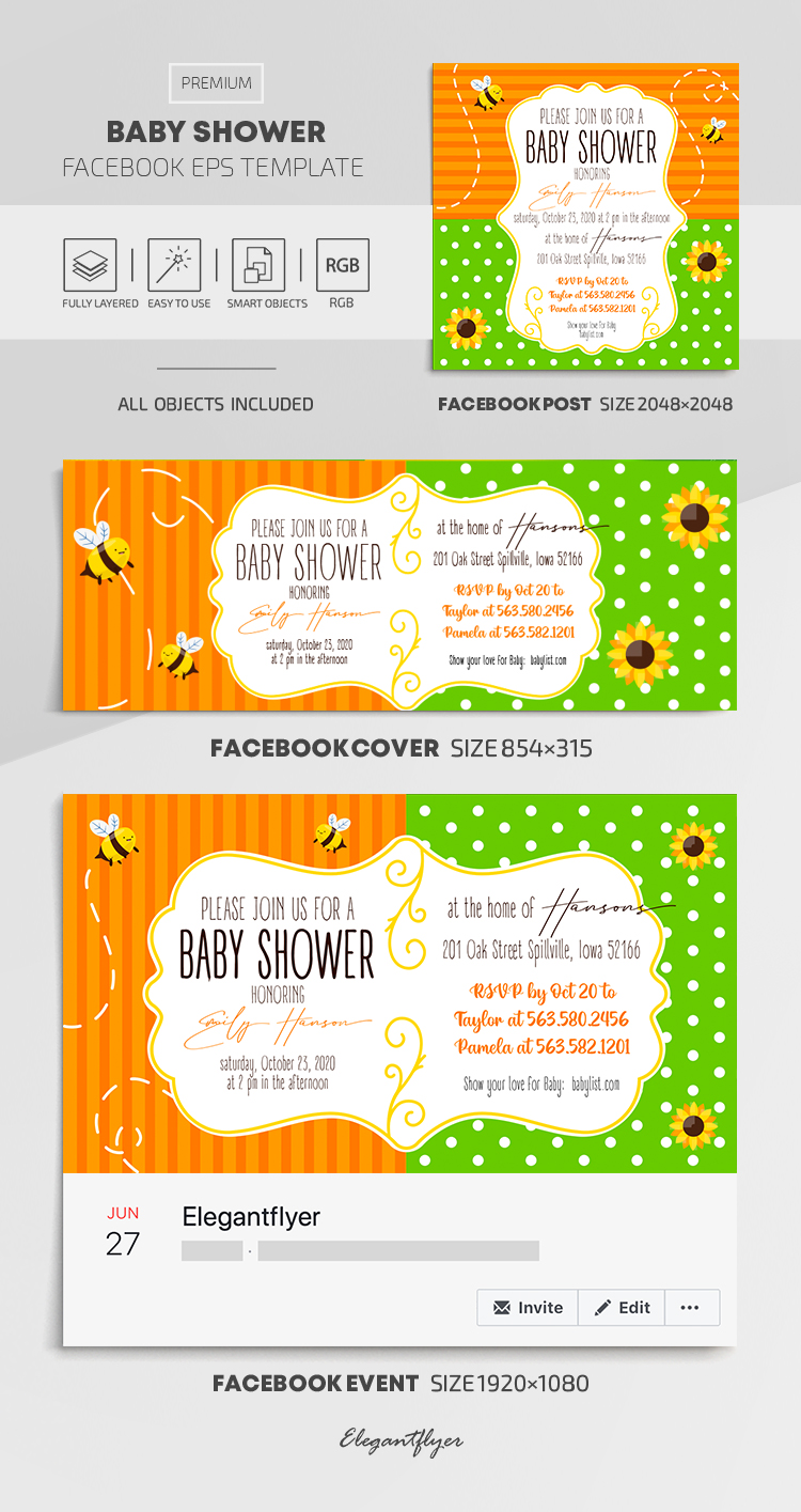 Baby Shower – Facebook Cover Template in EPS + Post + Event cover