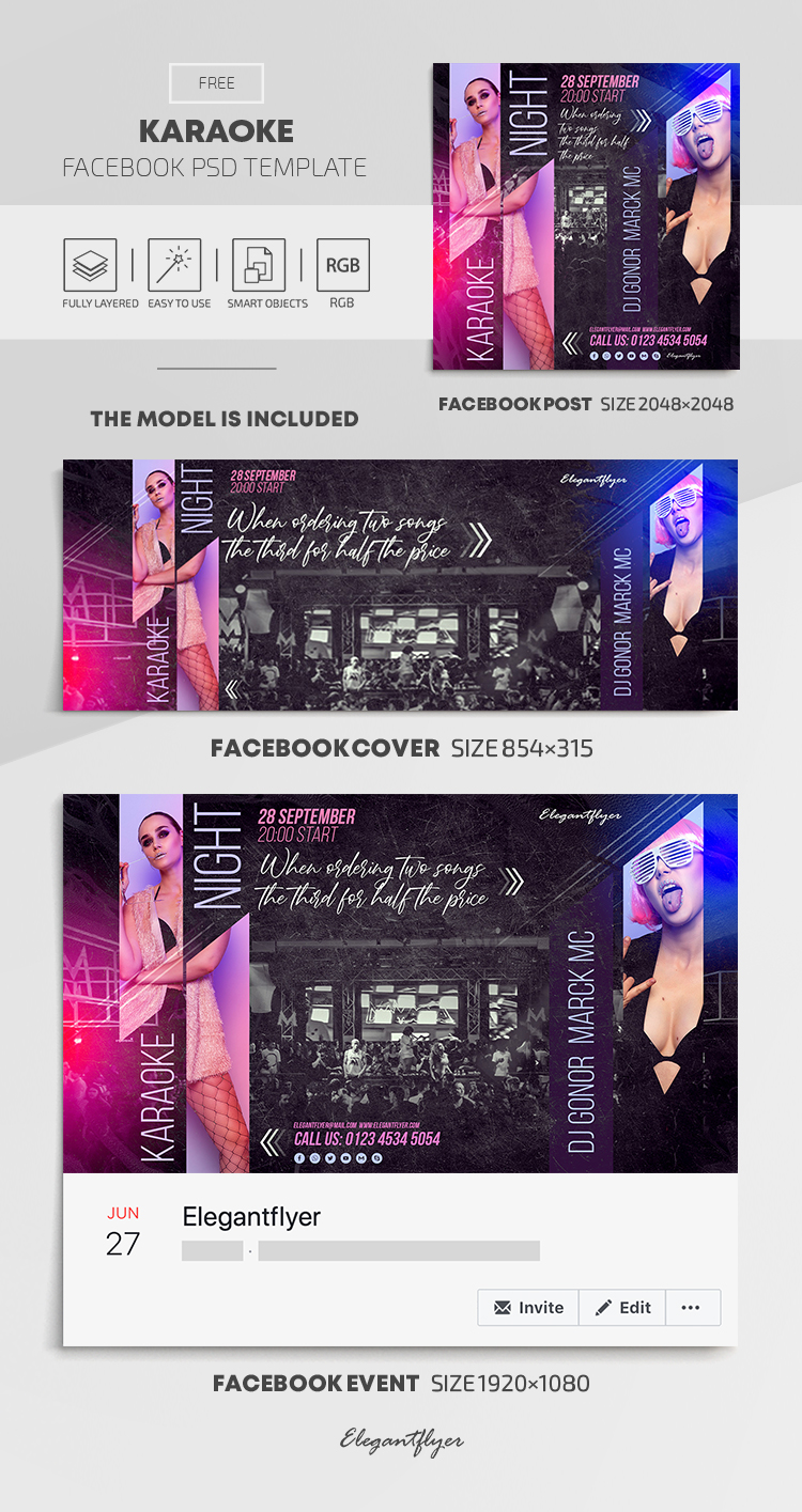 Karaoke – Free Facebook Cover Template in PSD + Post + Event cover