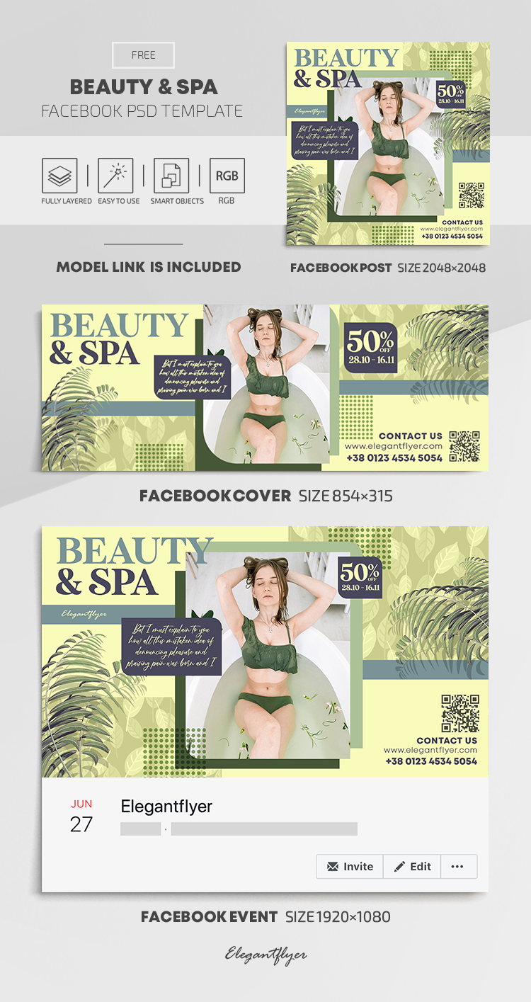 Beauty & Spa – Free Facebook Cover Template in PSD + Post + Event cover