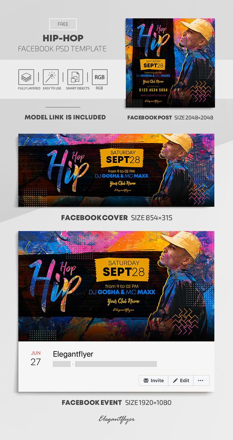 Hip-Hop – Free Facebook Cover Template in PSD + Post + Event cover