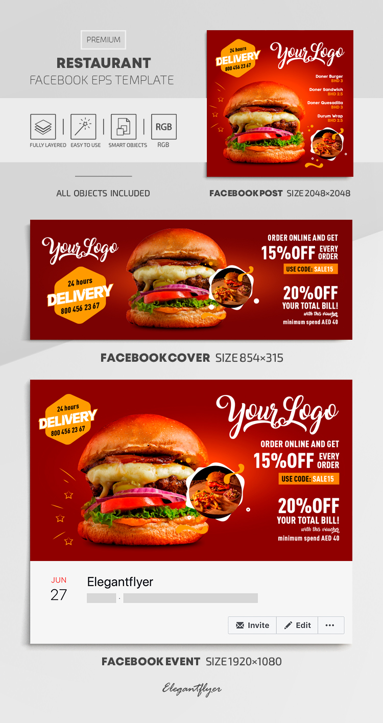 Restaurant – Facebook Cover Template in EPS + Post + Event cover