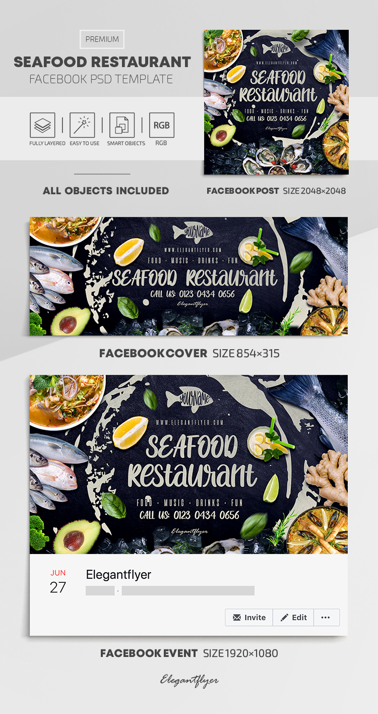 Seafood Restaurant – Facebook Cover Template in PSD + Post + Event cover