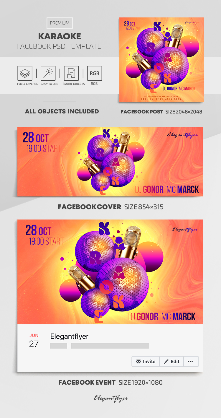 Karaoke – Facebook Cover Template in PSD + Post + Event cover