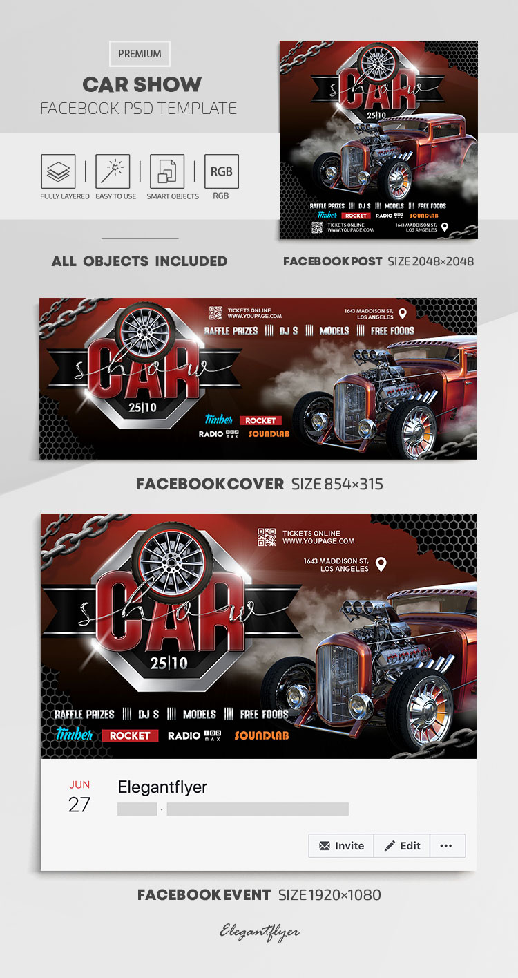 Car Show – Facebook Cover Template in PSD + Post + Event cover
